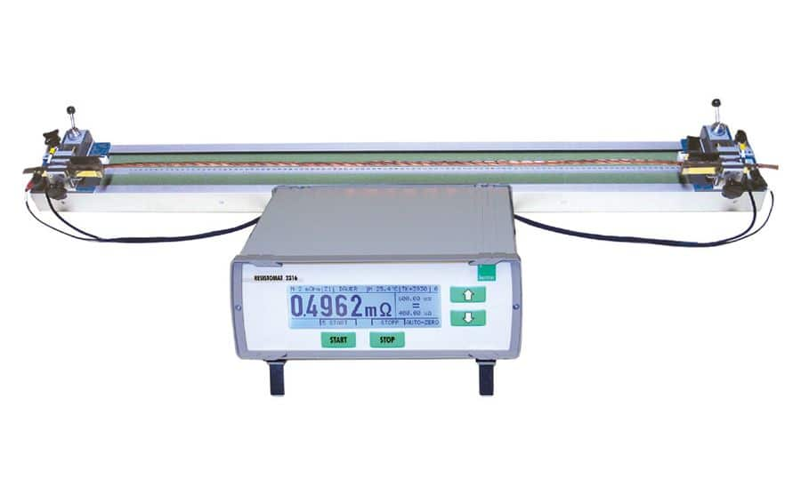 micróhmetro BURSTER 2316 midiendo la resistencia por metro de un cable