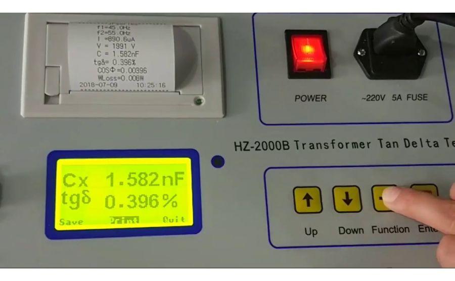 Medidor de tangente de delta en transformadores